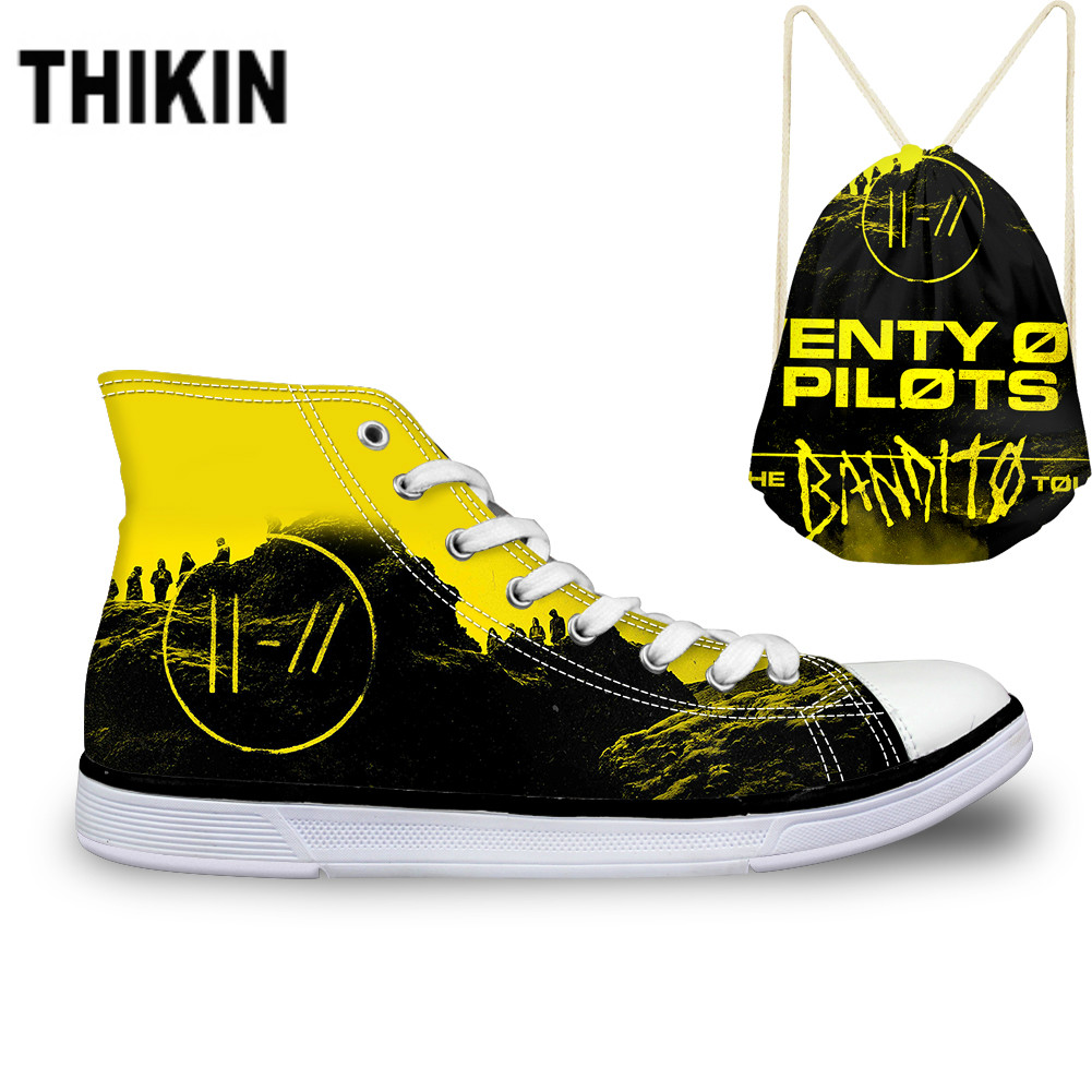 ThiKin Hot Sale Twenty One Pilots Pattern Canvas Shoes Lace Up Cool Print Fashion Breathable Ladies High Top Vulcanize Shoes