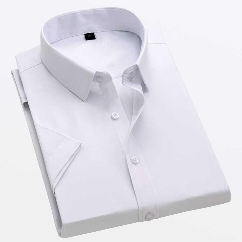 Qualità Degli Uomini di Estate Camicia A Maniche Corte Solid Twill di Affari Formale Bianco Camisa Masculina Uomo Social Camicette 4XL 5XL
