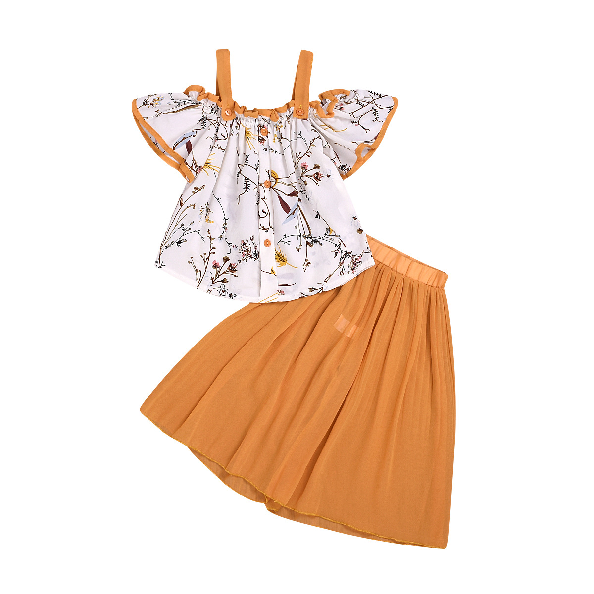 Children's Clothing Summer 2020 Girls Strap Tassel Top Flared Pants Suit D09.29 3