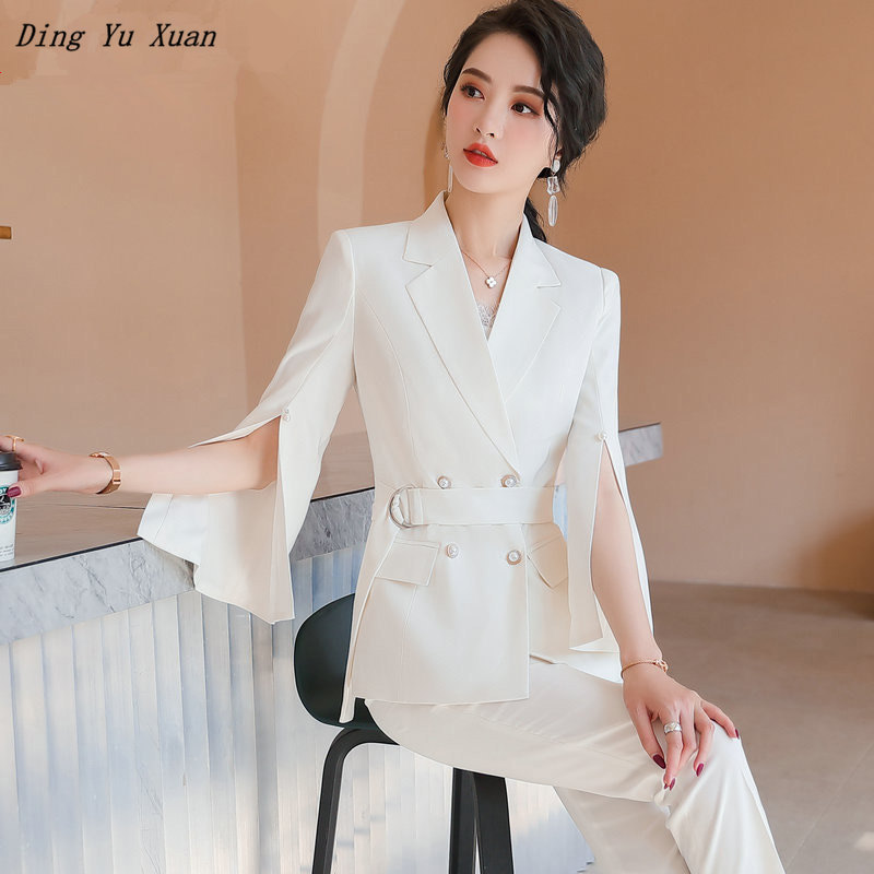 Two Piece Blazer and Pants Set Women Plus Size Double Breasted Jacket Suit Black White Pink Womens Summer Trouser Suits