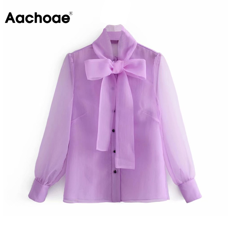 Aachoae Summer Bow Tie Organza Lace Blouse Women Streetwear Long Sleeve See Through Shirt Ladies Casual Tops Blusas Femininas