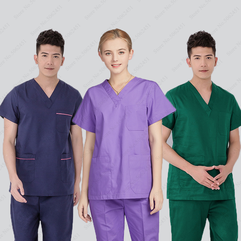 Hospital Surgical Work Tshirt Pant Medical Costume Nurse Doctor Cap Clinical Uniform Women Men Clinical Surgery Lab Clothing Set