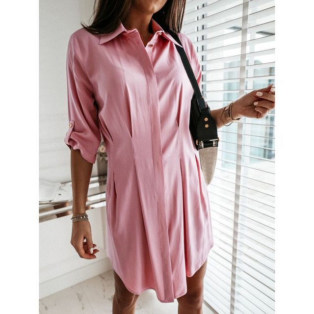 Women Autum Long Sleeve Mini Dress OL Casual Work Plain Mini Dress Ladies party sexy elegant Office Dresses vestido verano 5