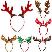 Повязка на голову Рождественская елка олень оленьи оголовья для детской рождественской вечеринки 2021 рождественские очки фотобудка реквиз...