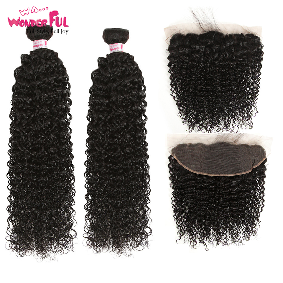 Mongolian Remy Kinky Curly Bundles With Frontal 13X4 Lace Frontal And Bundles 28 30 Inch Human Hair Bundles With Frontal