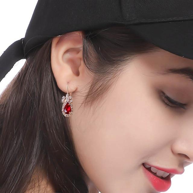 3Colors Jewelry Sets Hoop Earrings Water Drop Earrings Red Jewelry Set Rhinestones For Women Pendant Necklace/Earrings/Rings 4
