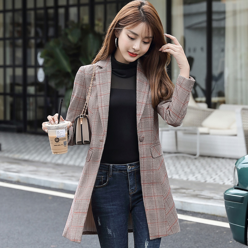 Fashion Women's Long Jacket High Quality 2019 New Slim Plaid Blazer Temperament Office Suit Large Size Winter Women's Clothing
