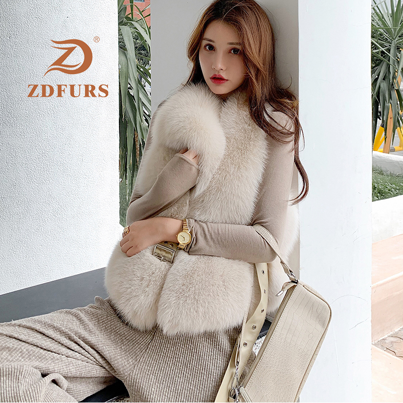 ZDFURS*New Arrival Natural Fur Waistcoat Plus Size Contrast Color Fashion Irregular Full Pelt Fox Fur Vest WomanReal Fur   -