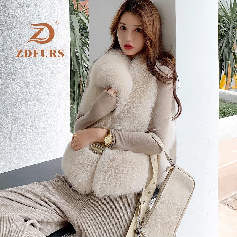 ZDFURS*New Arrival Natural Fur Waistcoat Plus Size Contrast Color Fashion Irregular Full Pelt Fox Fur Vest Woman