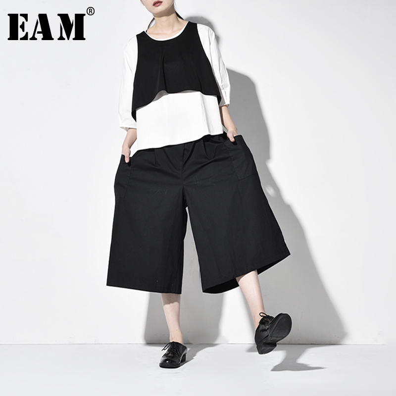 [EAM] Wide Leg Pants Three Piece Suit New Round Neck Long Sleeve Black Loose Fit Women Fashion Tide Spring Autumn 2019 JW1000