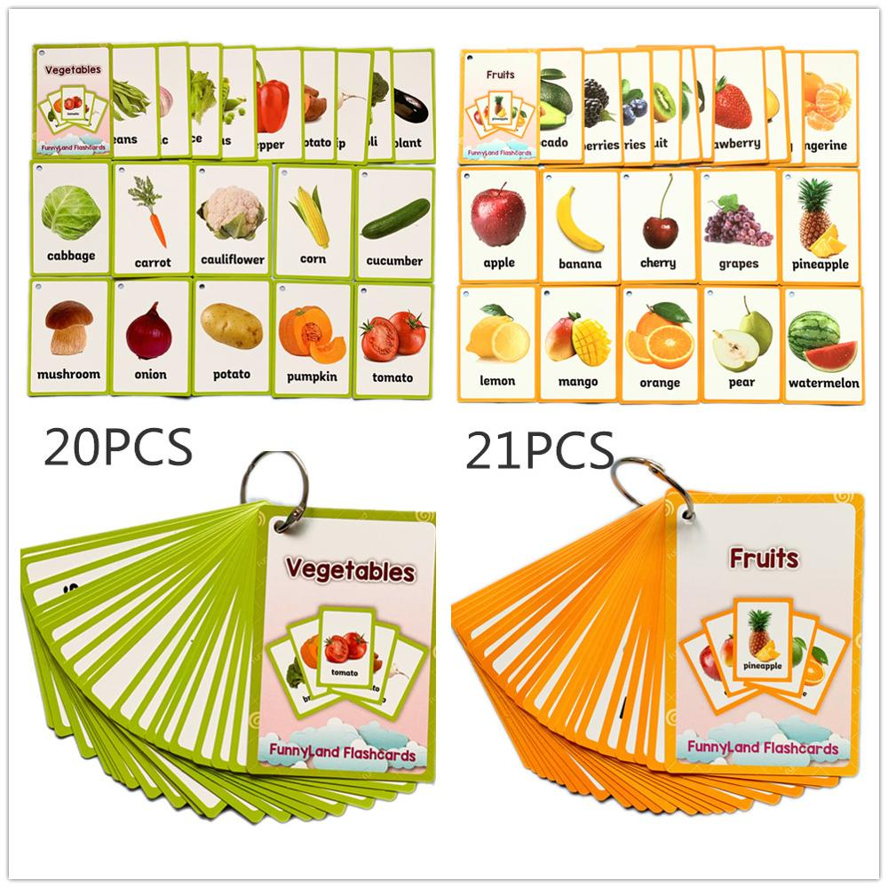2 Sets Baby Learning English Word Flash Pocket Cards For Children Montessori Educational Toys  Memorie Games Kids Table Game