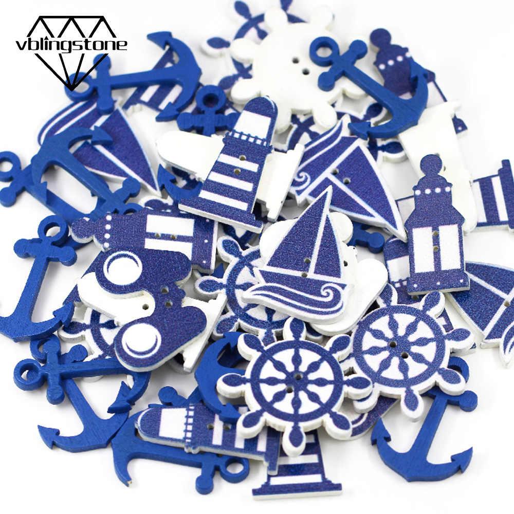 Botón de anclaje de madera de 50 piezas 2 agujeros botón decorativo botones de costura para manualidades de niños DIY