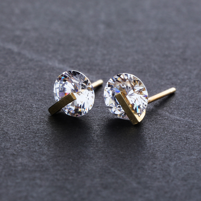 1 paire 10 K boucles d'oreilles Hip Hop glace Out or CZ boucle d'oreille pour hommes femmes mode bijoux livraison directe