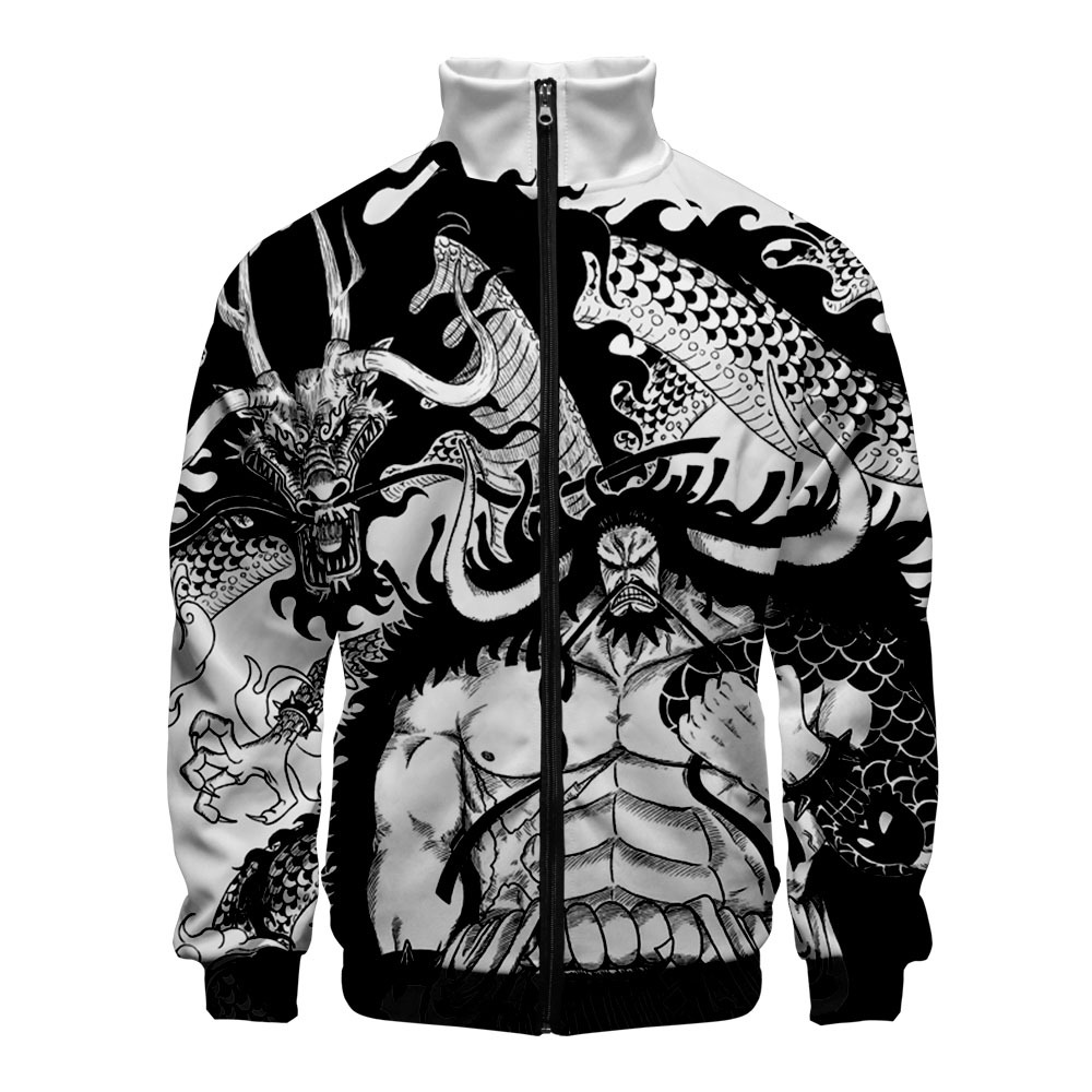 2020 Newest One Piece Kaido Anime Cosplay Men Women Zipper Jackets Sweatshirts Japanese Stand Collar Harajuku Long Sleeve Top