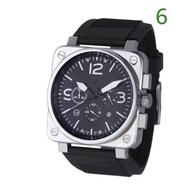 Men's Military Watch Multifunction Dual Calendar Square Dial Women Wrist Watch Rubber Strap Alloy Watch