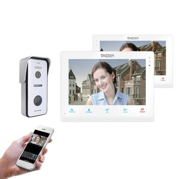 TMEZON Wireless/Wifi Smart IP Video Türklingel Intercom System, 10 zoll + 7 Inch Screen-Monitor mit 1x720P Verdrahtete Tür Telefon Kamera