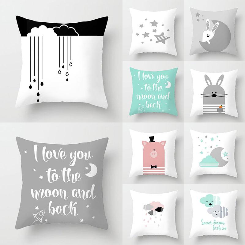 Pillow Cover Christmas Nordic Cushion Cover Cartoon Cloud Moon Star Pattern Polyester Throw Pillow Case Car Sofa Home Decor