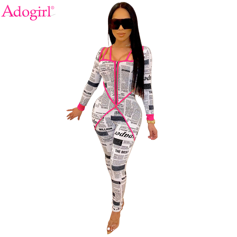 Adogirl Newspaper Print Women Casual Jumpsuit Front Zipper Spaghetti Straps Long Sleeve Skinny Romper Female Fashion Overalls