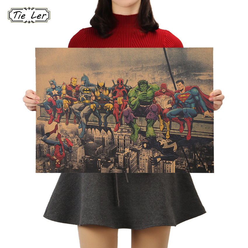 TIE LER 1PC Classic Movie Poster Vintage Kraft Paper Poster Wall Stickers For Living Room Home Decoration 51x36cm