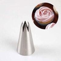 1pc bolo de decoração bico 304 aço inoxidável gelo cozimento pastelaria ferramentas pastelaria flor mout em linha reta 6 dente creme bico|  -