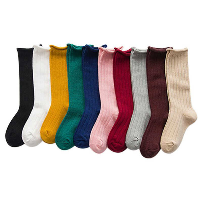 Kid Cotton Socks Solid Kids Long Socks Mid Tube Baby Cotton Beauty Candy Colors Warmers Socks Boys Girls Children Clothes 0-10 Y