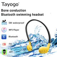 Tayogo W02 IPX8 Waterproof 8GB Underwater MP3 Player Swimming Bone conduction Headphone with FM Bluetooth Pedo Meter for Sports