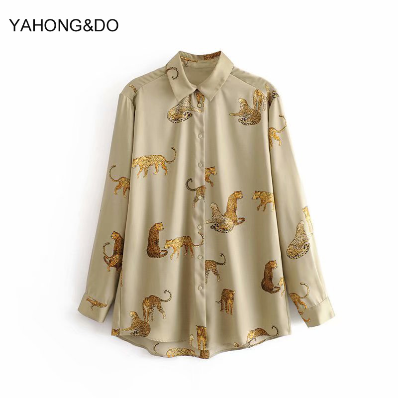 ZA Women Autumn Blouse 2019 New Fashion Leopard Animal Cartoon Printed Long Sleeve Shirts Femme Casual Yellow Cotton Blouses Top