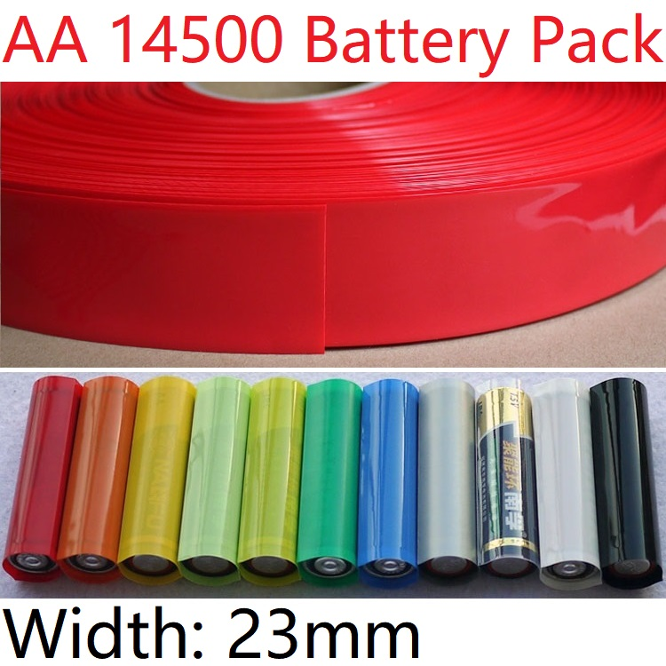 Sourcingmap 2Meters 64mm Flat Width 40mm Dia PVC Heat Shrink Wrap Tube Green for AA Battery Pack