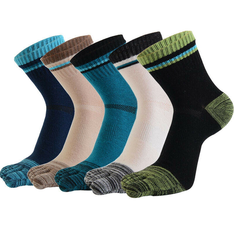 Mens 5 Five Finger Socks Striped Cotton Thick Warm Mid Calf Casual Sports Toe Socks For Women 5 Colors Unisex Hosiery Sox