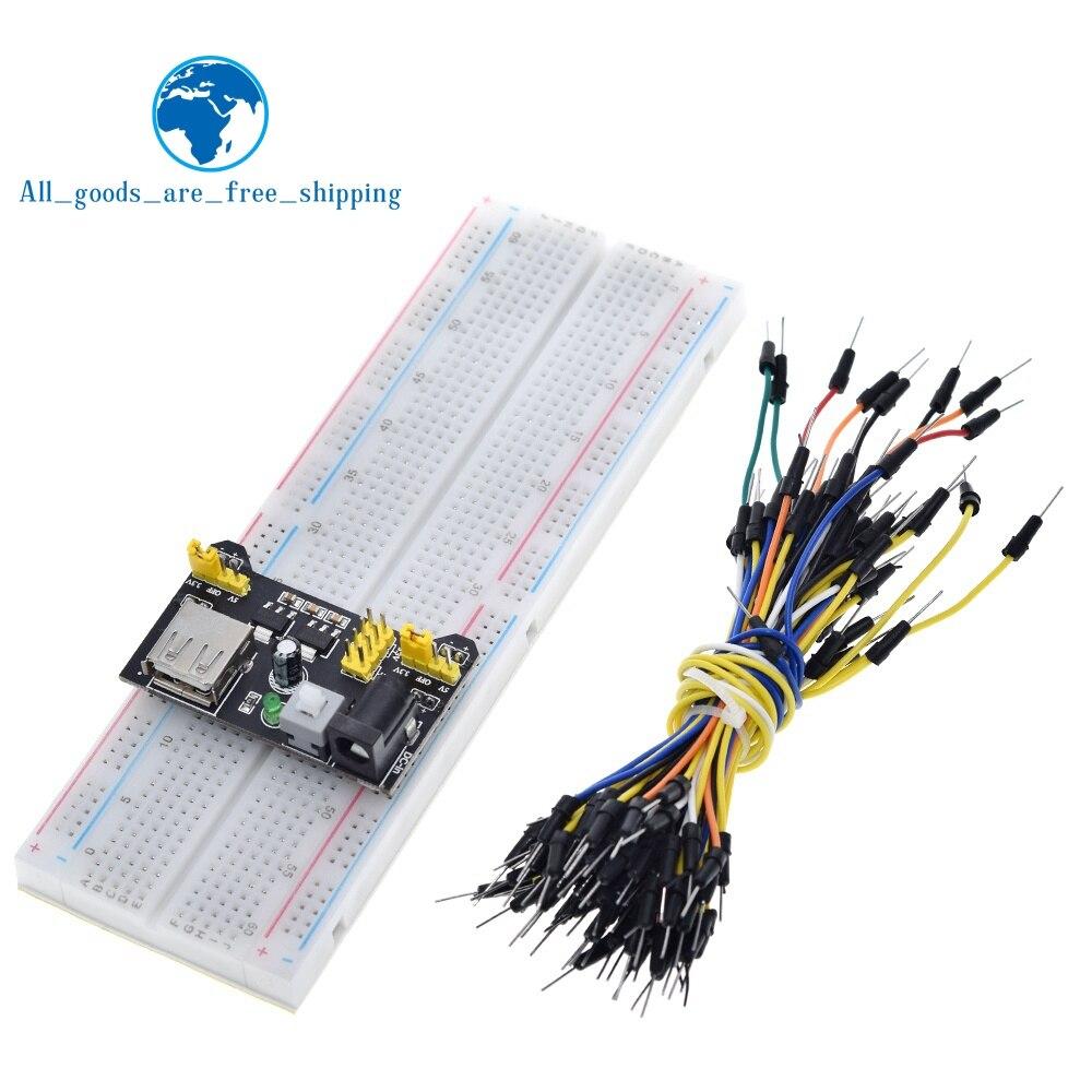 3.3V/5V MB102 Breadboard Power Module+MB-102 830 Points Prototype Bread Board For Arduino Kit +65 Jumper Wires Wholesale