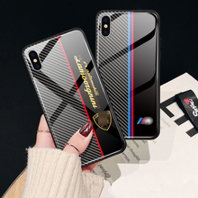 9H tempered glass case for iPhone 7 8 6s mobile phone carbon fiber iPhonex xs xr max