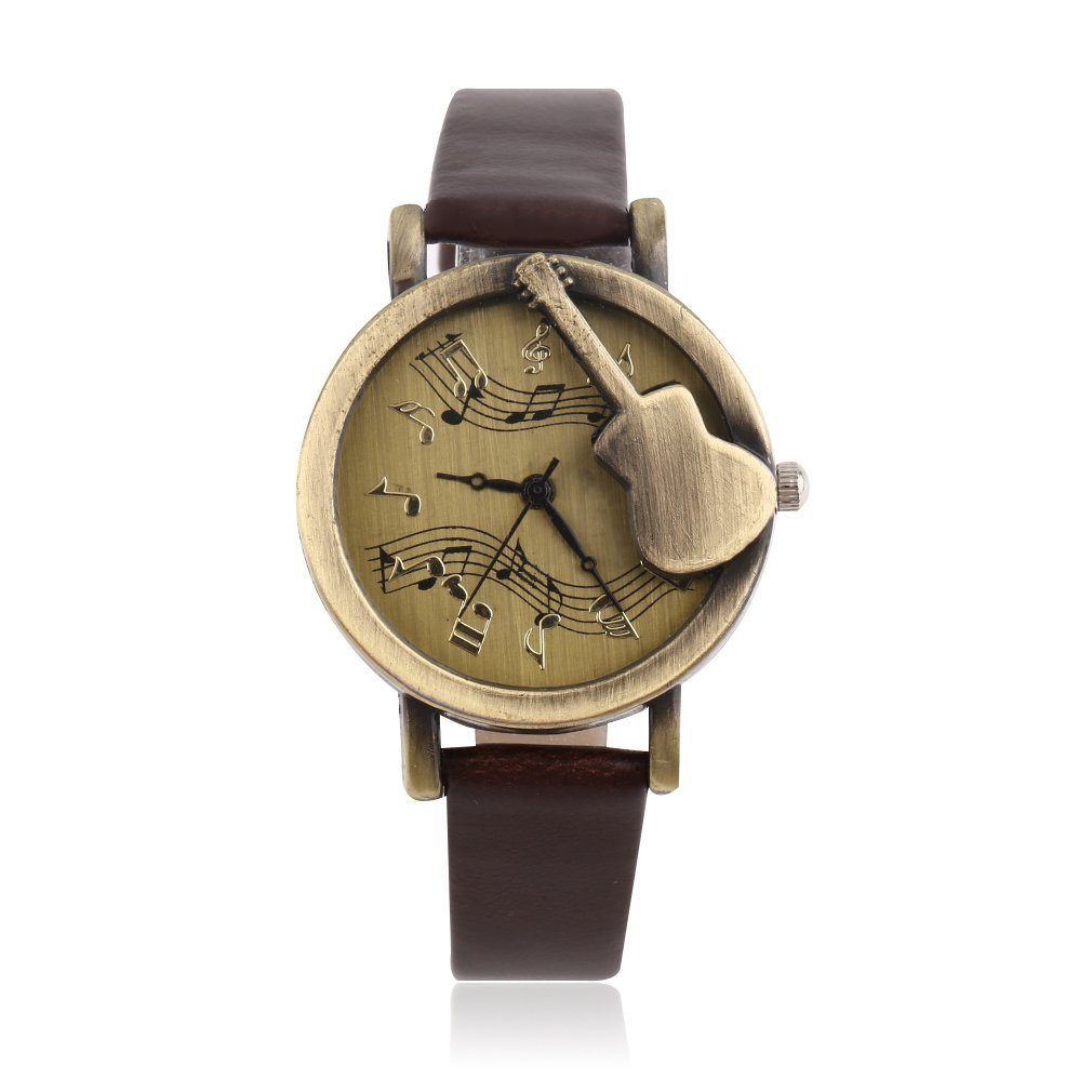 GENBOLI Vintage Unique Design Guitar Pattern Stave Dial Music Notation Analog Quartz Wrist Watch PU Leather Watchs Retro Gift