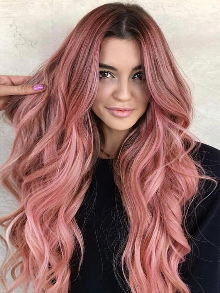 Pink Cosplay Wigs Dark-Root Wavy Colorful-Fiber Black White High-Temperature Synthetic-Long