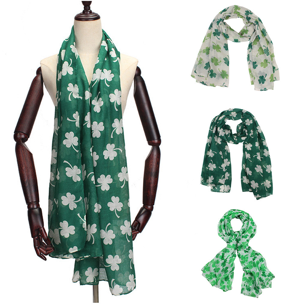 Floral Print Retro Head Neck Silk Satin   Scarf   St. Patrick's Day Green Irish Women   Scarf   Four-leaf ShamrocShawl   Wrap     Scarves