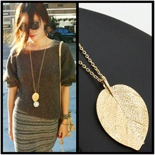 x73 Fashion Jewelry Gold Color Leaf Pendant Necklace For Women Exquisite Long Necklace Korean Style Wholesale Sweater Chain Gift недорого