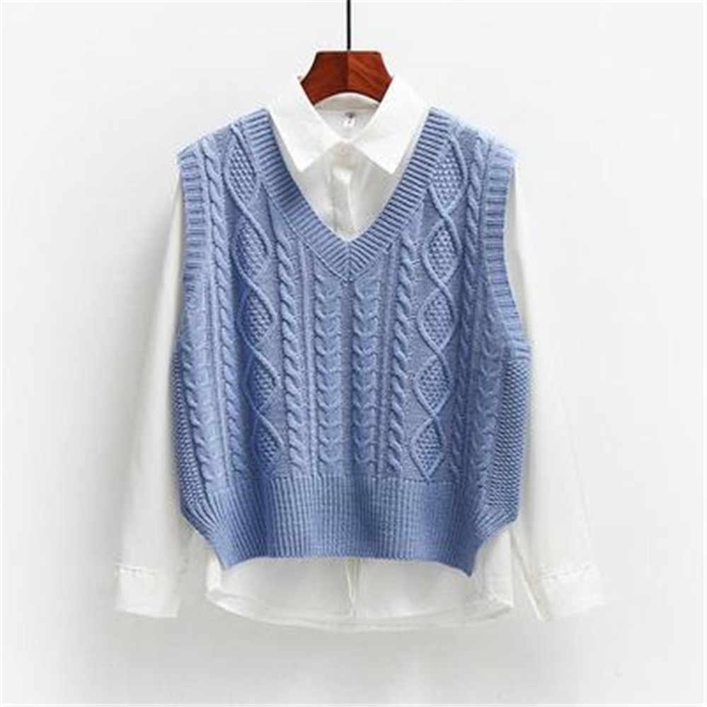 조끼 여성 솔리드 짧은 느슨한 유행 한국어 스타일 민소매 니트 v-목 모든 경기 여성 코트 간단한 레저 Outwear ZY5117