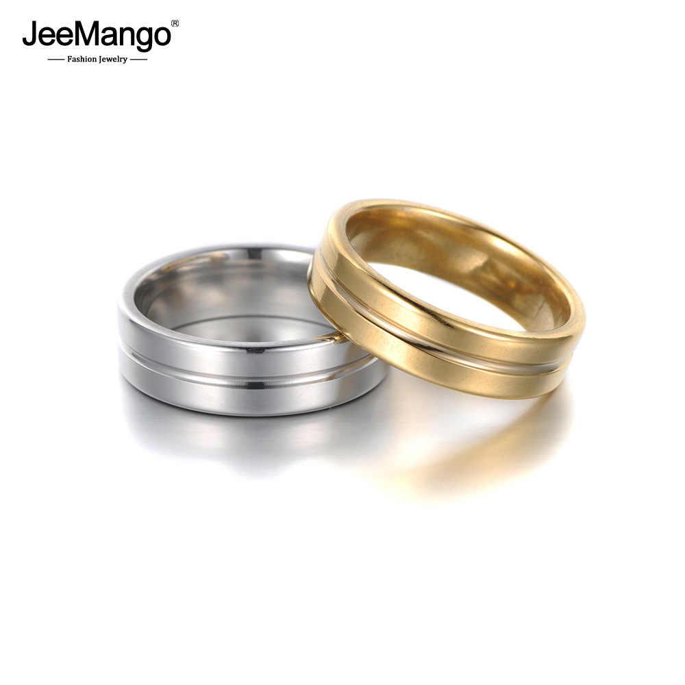 JeeMango สายรูปร่างสแตนเลสสตีลแหวนผู้หญิงผู้ชายคู่แหวนแต่งงานสแตนเลสแหวนเครื่องประดับ Anneau JR18117