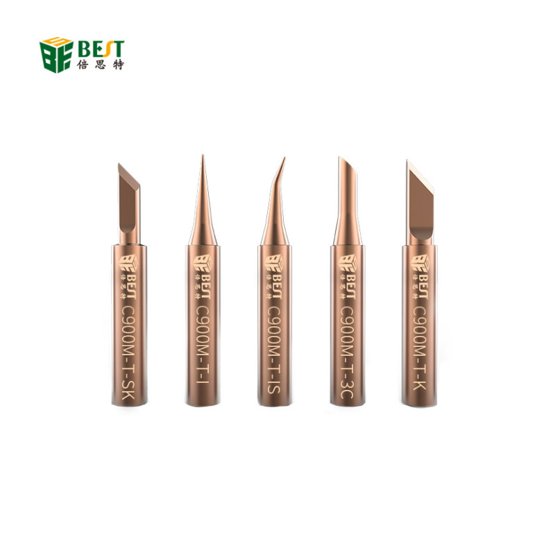 BST-C900M-T Pure Copper Special Tip I Nozzle Soldering Iron Tip Fine IS Curved Nozzle Red Copper 5 Kit For Welding Fly Jump Wire