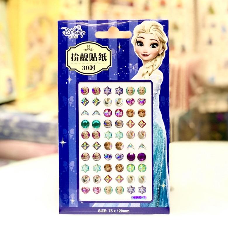 Disney Cartoon Frozen Elsa Children Earring Sticker DIY Girl Make Up Sticker Gift Tattoo Nail Face Sticker Beauty Toys