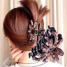 1шт женщин новый стиль элегантный Кристалл волос Коготь металлический сплав горный хрусталь захватить клип зажим бантом красочные аксессуары клипы