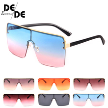 2019 Ladies Oversized Square Sunglass Women New Big Frame Brand Designer Sunglasses Rivet Pink UV400
