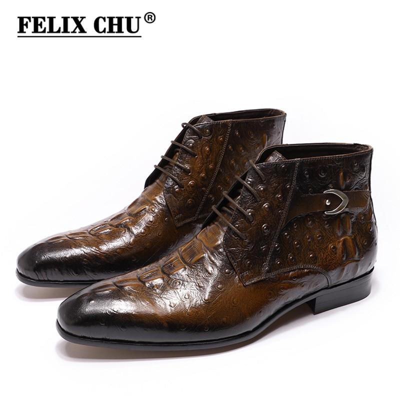 FELIX CHU Mode 2019 Design Echtes Leder Männer Stiefeletten Krokodil Muster Lace Up Kleid Schuhe Schwarz Braun Mann Grundlegende stiefel-in Basic Stiefel aus Schuhe bei  Gruppe 1