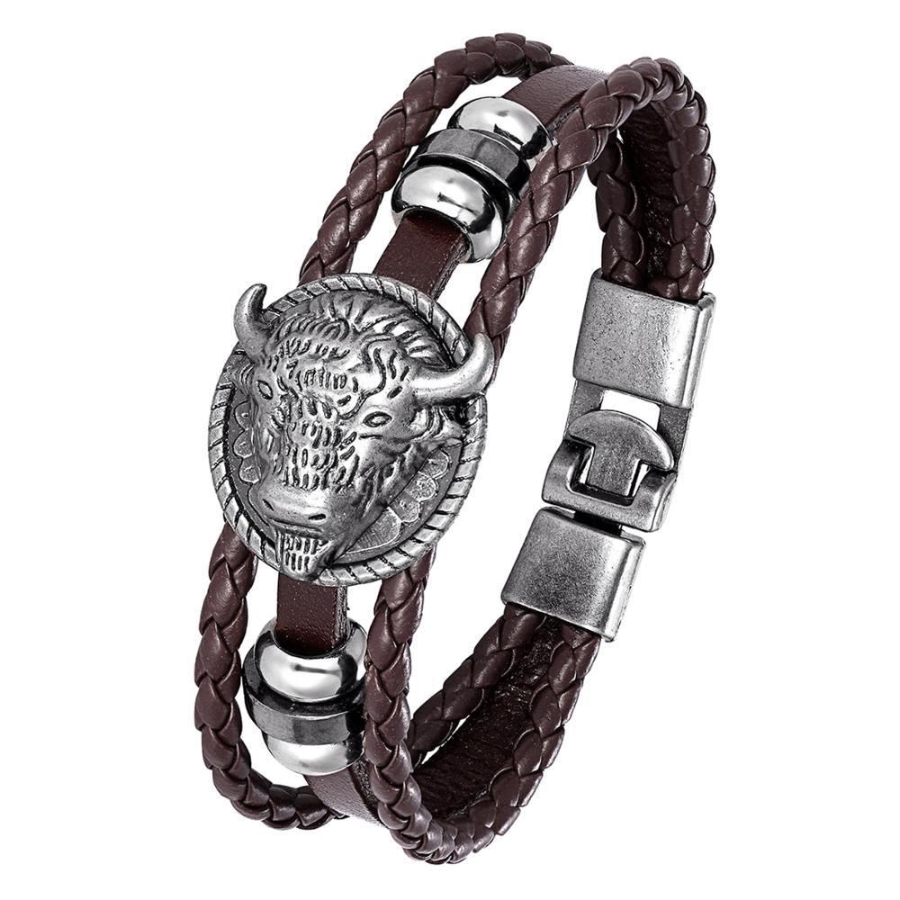 Womens Fashion Bracelet Unicorn Pattern Bracelet Vintage Multilayers Bracelet Leather Knitted Adjustable Bangle White and Pink