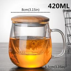 Image 5 - Borosilikat cam çay demlik kupa bardak şeffaf filtre kolu bambu kapak için yüksek sıcaklık dayanımı çiçek çay fincanı