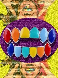 TOPGRILLZ Rainbow-Teeth Gold-Tekashi69 Hip-Hop Bottom Halloween Colorful