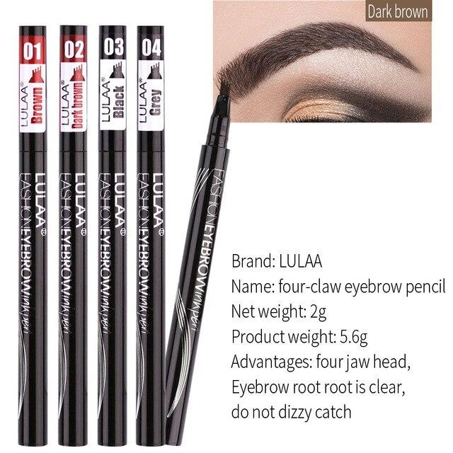 Women Waterproof Natural Eyebrow Pen Four-claw Eye Brow Tint Microblading Makeup Four Colors Eyebrow Pencil Brush Cosmetics 1
