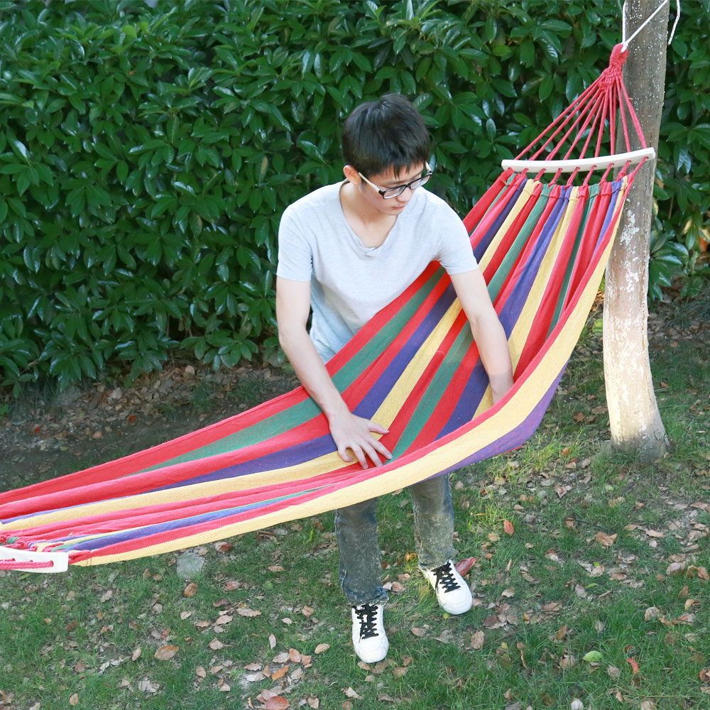 Portable Canvas Hammock With Wood Hold For Home Outdoor Leisure Garden Sports Travel Camping Swing Stripe Hanging Bed Lazy Chair