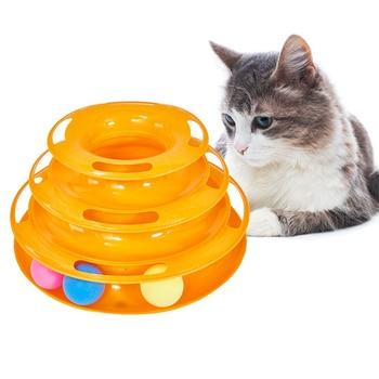 Juguete para gatos torre de tres niveles pistas disco gato inteligencia diversión Triple Pay disco gato juguetes bola Placa de entrenamiento juguetes para gatos