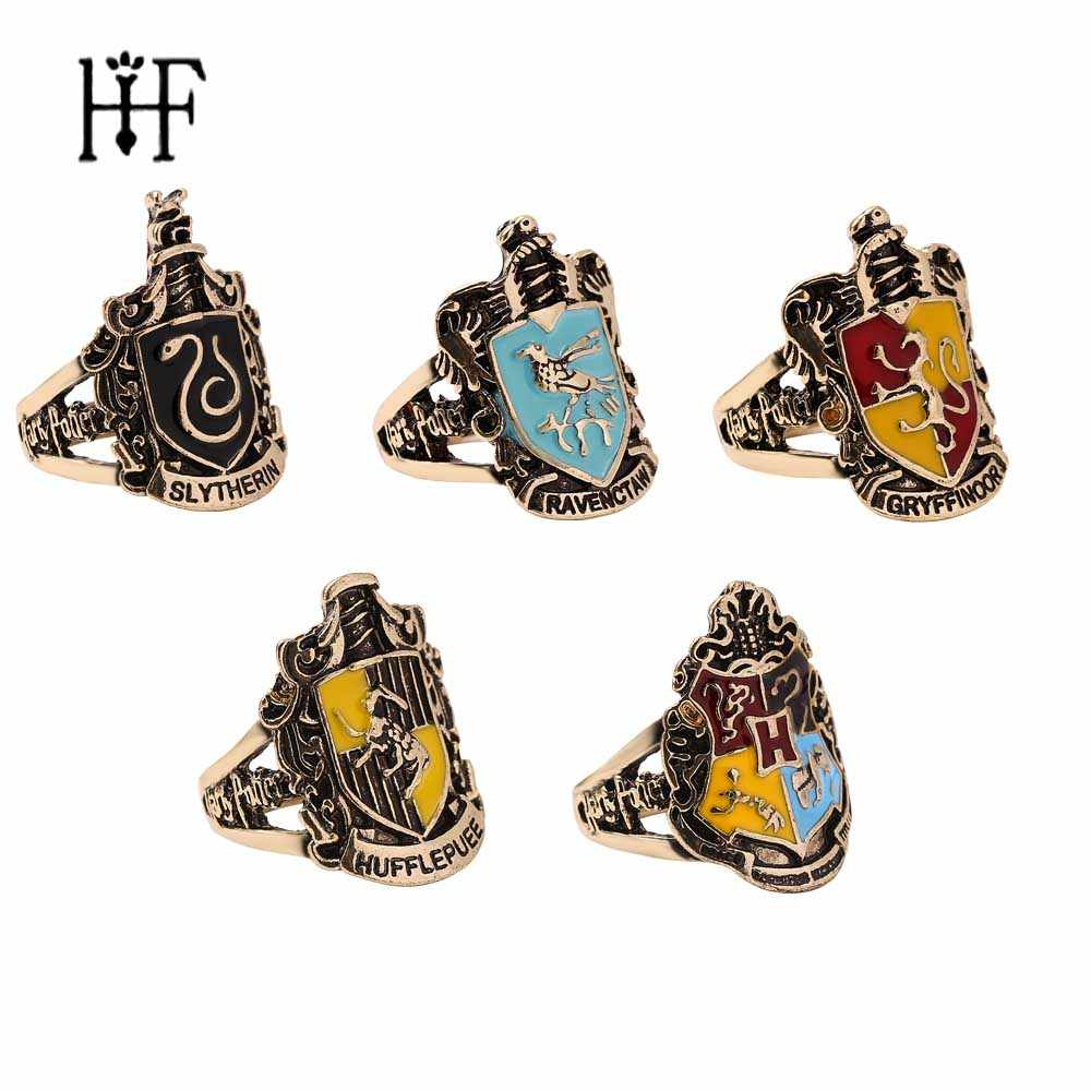 1pcs Crachá Escola Hogwarts Anéis para As Mulheres Homens Anéis Gryffindor Slytherin Hufflepuff Ravenclaw Cosplay Gift Collection Men Anel