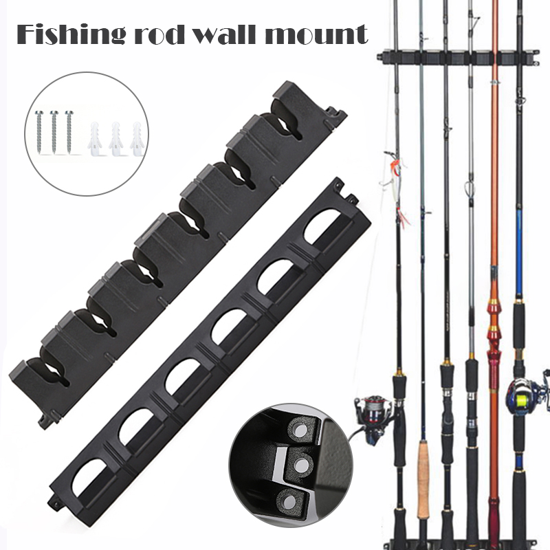 1 Pair Vertical 6-Rod Rack Fishing Rod Holder Wall Mount Fishing Pole Display Stand EIG88